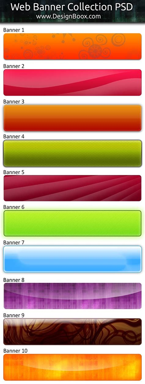 web banner collection free psd template bond pinterest