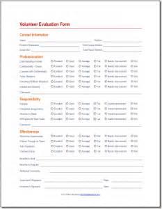volunteer evaluation form 171 best attendance