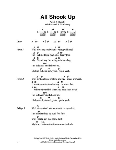 printable elvis lyrics all shook up sheet music by elvis presley lyrics chords