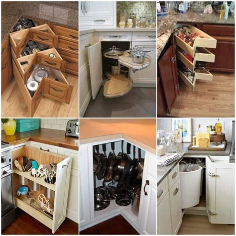 Corner Kitchen Cabinet Organization Ideas Clever Kitchen Corner Cabinet Storage And Organization Ideas