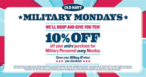 old navy coupons military discounts deals 4 military military mondays 10 at old