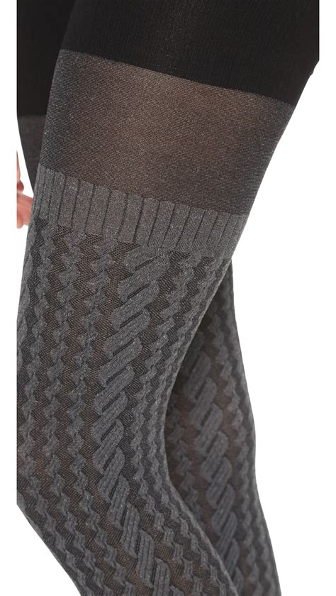 cable knit tights spanx cable knit tights sweater grey in gray lyst