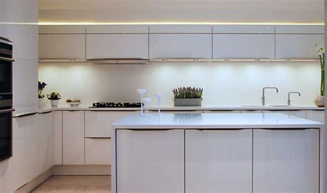 Black Appliances Kitchen Design by High Gloss White Kitchen With White Quartz Worktops