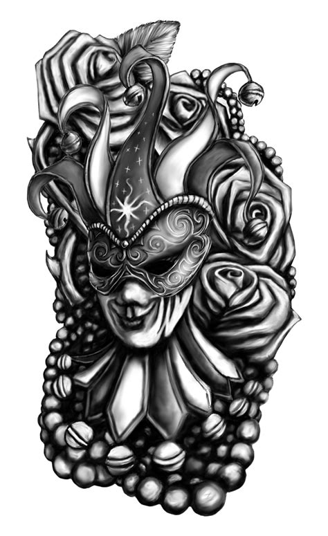 black and grey tattoo design amazing mardi gras on foot