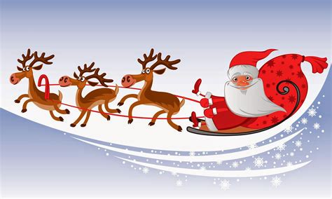 animated photos of christmas santa claus with reindeer santa claus coming to town his reindeer sleigh flying in sky images