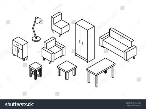sofa isometric view set 3d furniture line drawn sofa stock vector 445526902