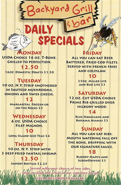 Backyard Grill And Bar Daily Specials Menu Backyard Grill And Bar