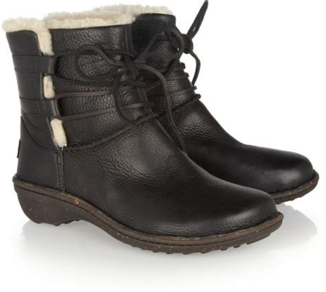 ugg caspia lace up leather ankle boots in black lyst