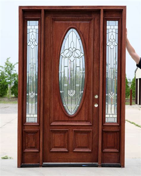 Wooden Exterior Doors With Glass Doors For Home Pre Finished Walnut
