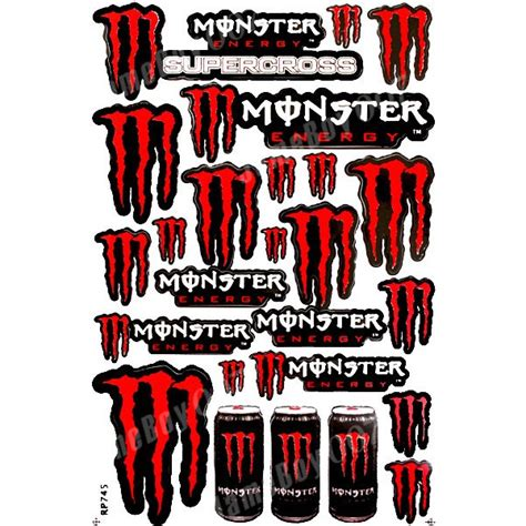 Monster Aufkleber Rot mrs0097 red m0nster energy decals stickers motorcycle