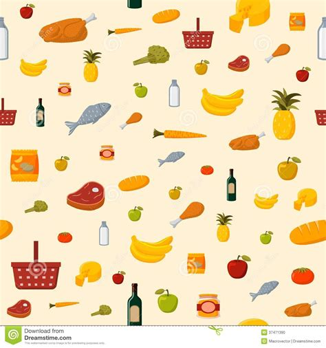 background item supermarket food items seamless background stock vector