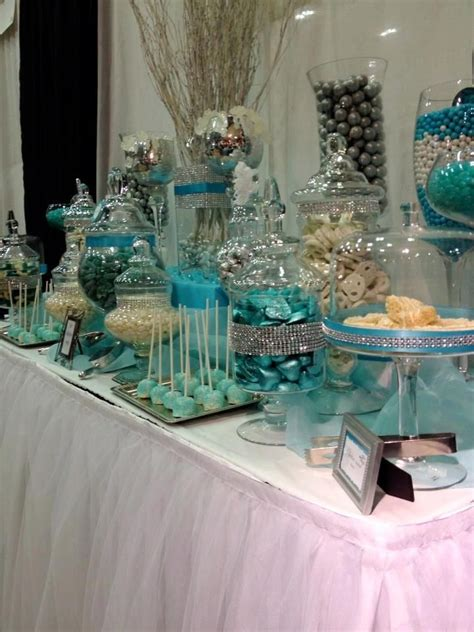 Blue And White Candy Buffet Tables Blue Silver And Silver Buffet Table