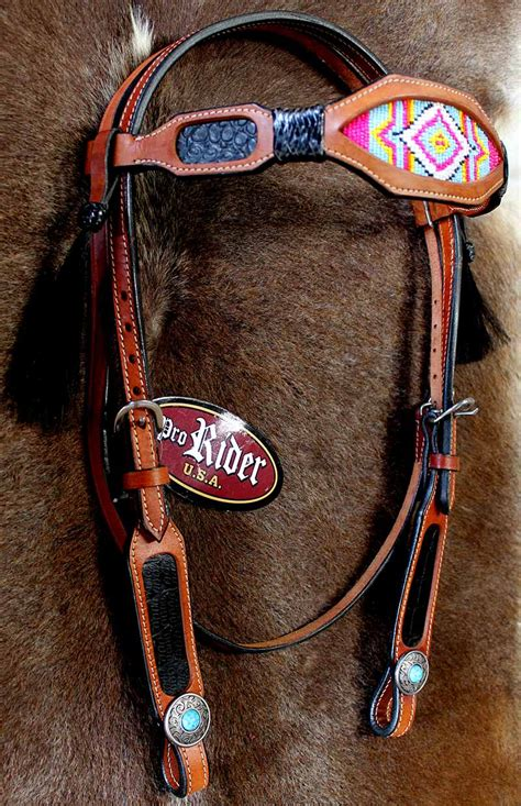 beaded tack show bridle western leather headstall beaded