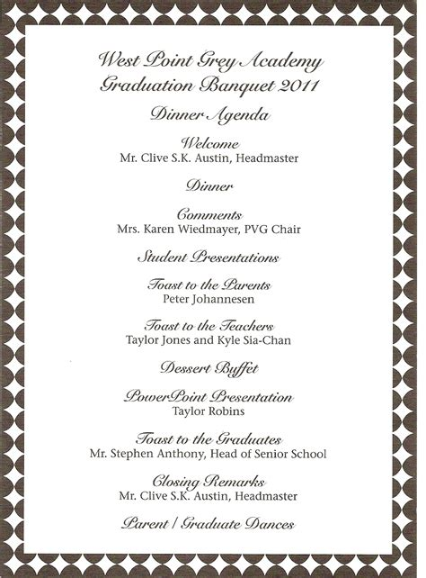 awards program template donna s report wpga graduation banquet teddy