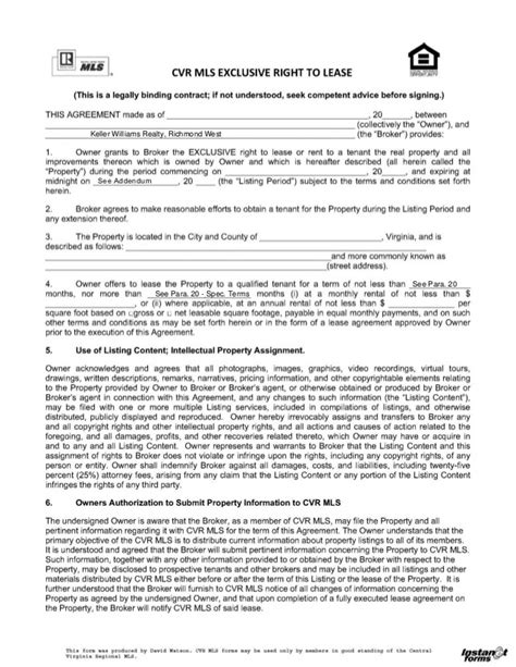 lease listing agreement
