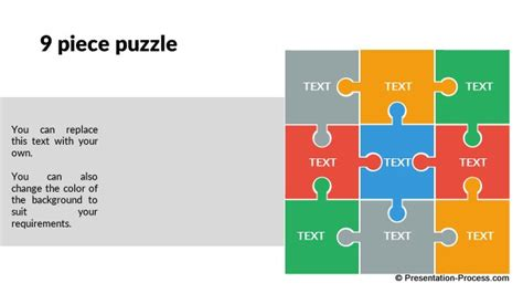 Puzzle Template 9 Pieces by Flat Design Templates Powerpoint Metaphors