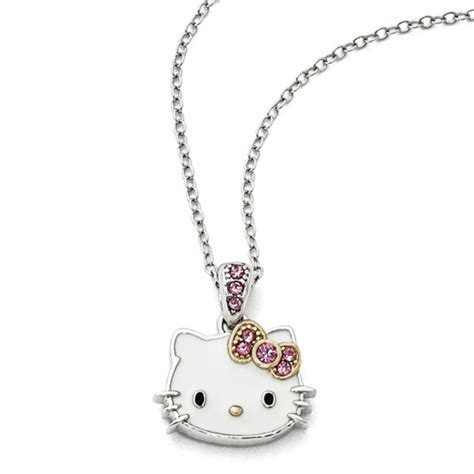 Hello Pink Necklace gold plated sterling silver 18in hello necklace with pink crystals qhk117