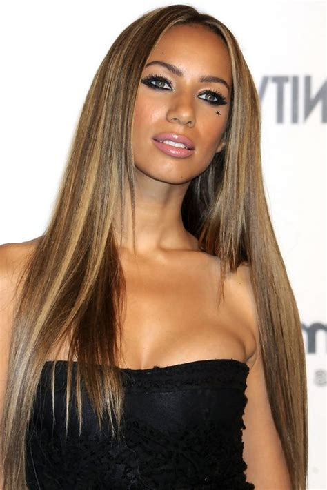 hairstyles for straight black girl hair leona lewis highlighted long sleek straight hairstyle for