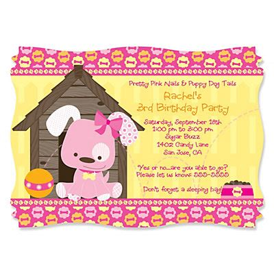 puppy birthday invitations puppy personalized birthday invitations bigdotofhappiness