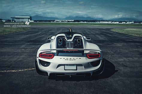 white porsche 918 4 white porsche 918 spyder weissach pachage rear angle