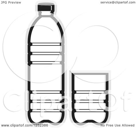 black and white chagne bottle clipart clipart of a black and white water bottle and cup and gray