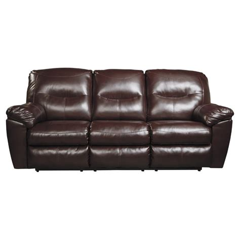 Ashley Kilzer Durablend Reclining Faux Leather Sofa In Faux Leather Reclining Sofa