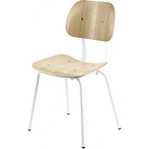 metal dining chairs industrial uk white metal and oak industrial style dining chair from