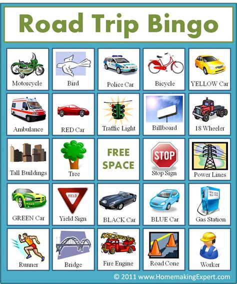 printable road trip bingo diy the frugal life