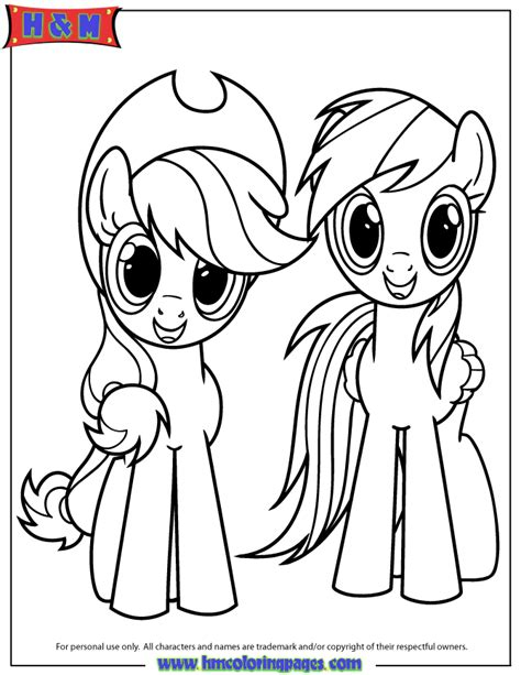 My Little Pony Coloring Pages Applejack And Rainbow Dash | applejack and rainbow dash coloring page h m coloring