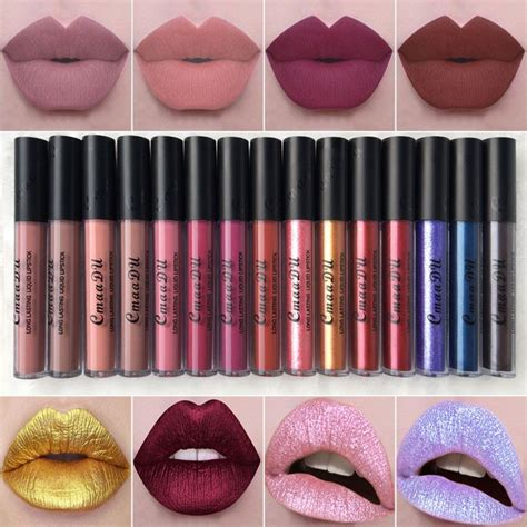 Diskon La Colorspout Matte Lipgloss 2017 nueva marca de maquillaje mate l 225 piz l 237 quido labio lipstick lustre labios rojos