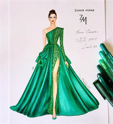 fashion illustration gown magnificent couture gown of the zuhair murad summer