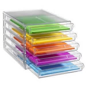 j burrows desktop file storage organiser 5 drawer clear