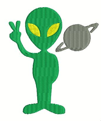 Alien Machine Embroidery Design Out of this World Space