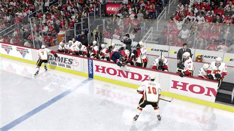 players bench hockey hit into bench nhl 16 youtube