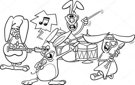 Rabbits rock music band coloring page ? Stock Vector