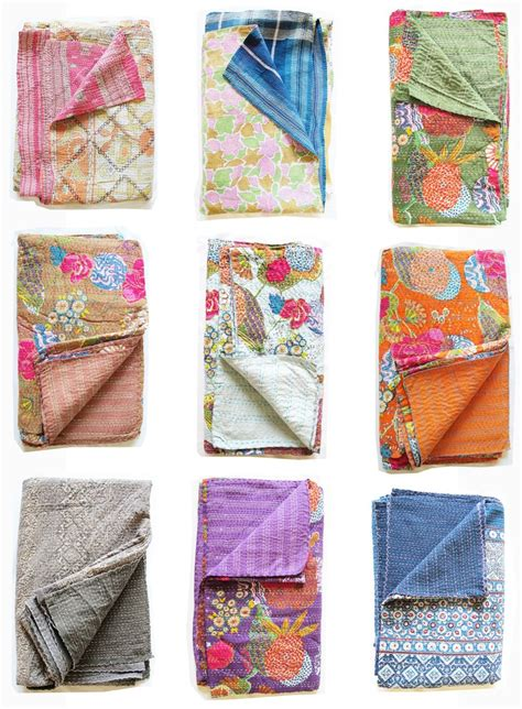 Kantha Quilt by Kantha Floral Quilt All Colors Textile