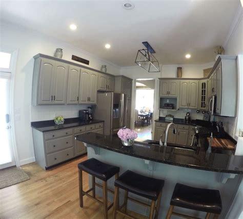 sherwin williams dovetail gray kitchen cabinets  walls