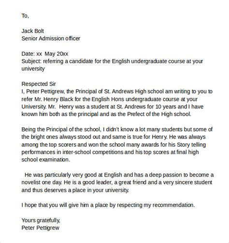 Recommendation Letter For Continuing Education sle reference letter for a student 7 free