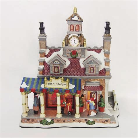 carole towne ceramic lighted holiday train station