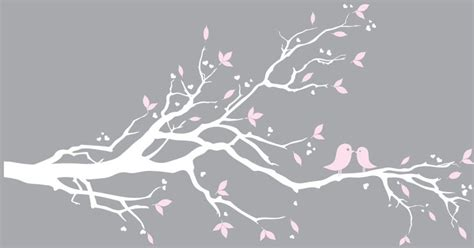 white branch tree white tree branch wall decal with green leaves decals