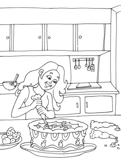 Coloriage Fille prépare un gâteau dessin gratuit à imprimer