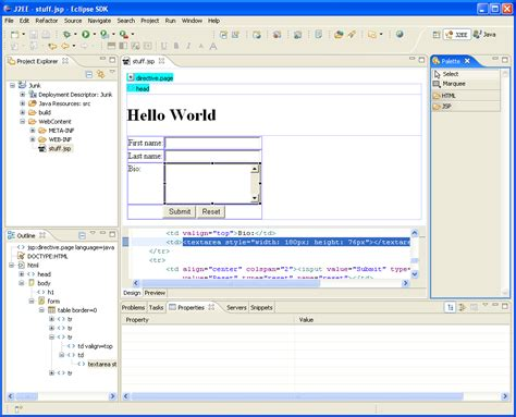 graphical layout editor not available sap wysipdctwyg html jsp jsf editor in eclipse eclipse hints