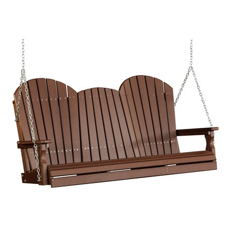 5 foot porch swing poly 5 foot adirondack outdoor porch swing chestnut brown