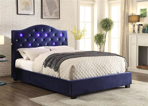 queen headboard with lights cressida contemporary style navy blue flannelette