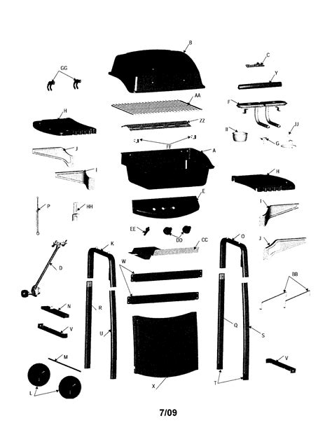 gas grill parts diagram char broil gas grill parts model 463620409 sears