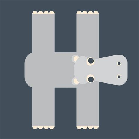 color starting with h letter h animal alphabet hippo monogram to find