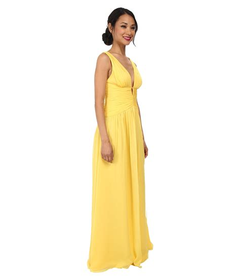 chiffon gown yellow lyst stuart v neck ruched chiffon gown in