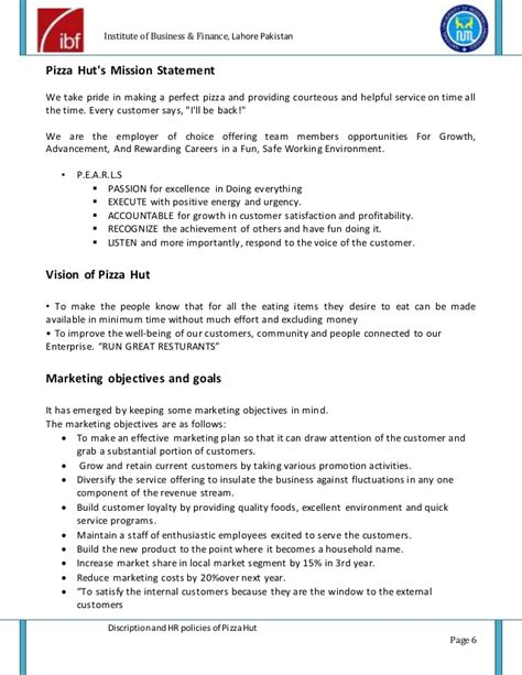 pizza hut description and hr policies project report of pizza hut