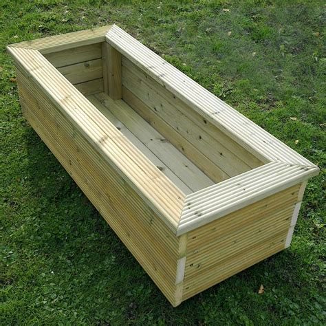 rectangular wooden planter 120cm x 40cm gardener