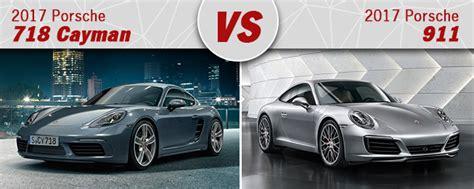 compare 2017 porsche 718 cayman vs 2017 porsche 911